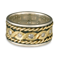 Twisted Rope Ring in 14K Yellow Gold Design w Sterling Silver Base