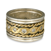 Double Twisted Rope Ring in 14K Yellow Gold Design w Sterling Silver Base
