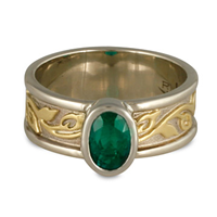 Bordered Flores Emerald Ring in 14K White Gold Borders & Base w 18K Yellow Gold Center