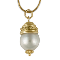 Felicity Pearl Drop Pendant in 18K Yellow Gold