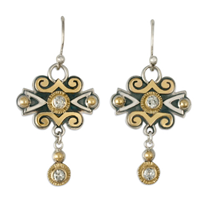 Cascade Earrings with Diamonds in 14K Yellow Gold Borders & Center w Sterling Silver Base