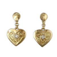 Swirl Heart Earrings with Diamonds in 18K Yellow Gold