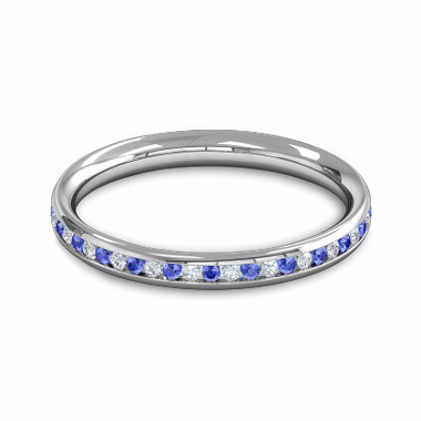 Diamond and Blue Sapphire Eternity Fairtrade Gold Eternity Ring in 18K White Gold