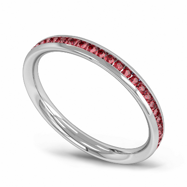 Channel Set Ruby Fairtrade Gold Eternity Ring in 18K White Gold
