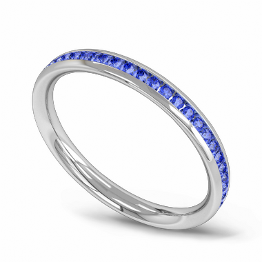 Channel Set Sapphire Fairtrade Gold Eternity Ring in 18K White Gold