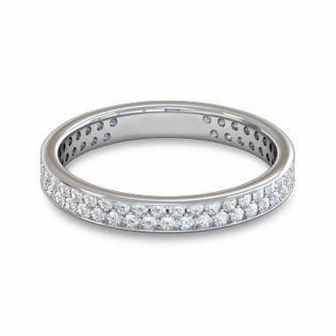Double Diamond Fairtrade Gold Eternity Ring in 18K White Gold
