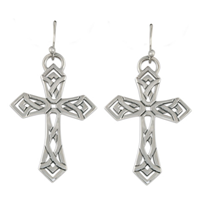Pictish Cross Earrings in Sterling Silver