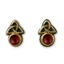 Aria Round Earrings in Garnet