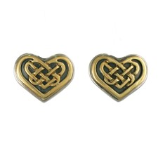 Heart Earrings in 14K Yellow Design/Sterling Base