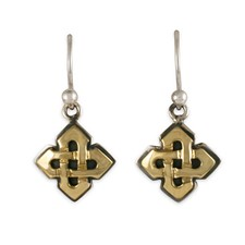 Kells Earrings in 14K Yellow Gold Design w Sterling Silver Base