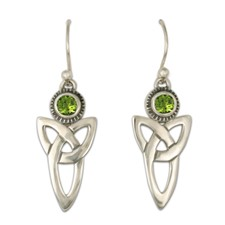 Trinity Earrings with Gems in Peridot