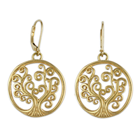 Tree of Life Earrings Gold in 14K Yellow Gold