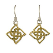 Karasel Earrings in 14K Yellow Gold Design w Sterling Silver Base