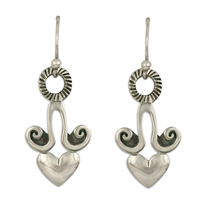 Angelica Heart Earrings in Sterling Silver