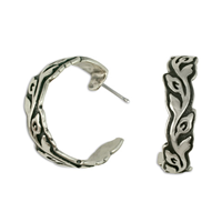 Flores Silver Hoop Earrings in Sterling Silver