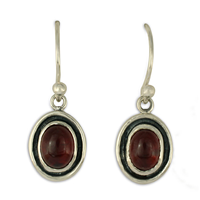 Oval Gem Earrings in Garnet