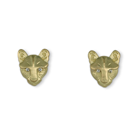 Solid Gold Small Mountain Lion Stud Earrings with Diamond Eyes in 18K Yellow Gold