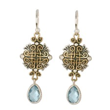 Shonifico Earrings with Gem in 14K Yellow Gold Design w Sterling Silver Base