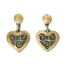 Swirl Heart Earrings in 14K Yellow Design/Sterling Base
