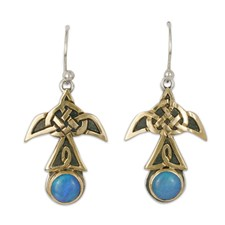 Swallow Earrings with Opal Large in 14K Yellow Gold Design w Sterling Silver Base