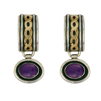 Rope Cuff Earrings with Gem in Amethyst