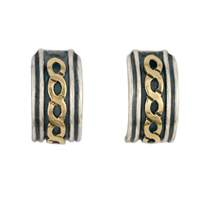Rope Cuff Earrings in 14K Yellow Design/Sterling Base