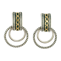 Links Cuff Earrings in 14K Yellow Gold Design w Sterling Silver Base