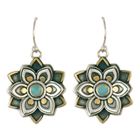 Kamala Earrings with Opal in 14K Yellow Design/Sterling Base