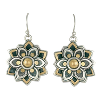 Kamala Earrings in 14K Yellow Gold Design w Sterling Silver Base