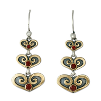 Cascading Heart Earrings in 14K Yellow Gold Design w Sterling Silver Base