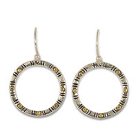 Circle Earrings in 14K Yellow Gold Design w Sterling Silver Base