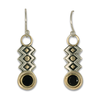 Zig Zag Earrings with Gem in 14K Yellow Gold Design w Sterling Silver Base