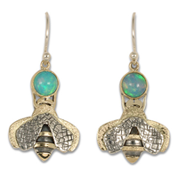 Simply Bee Earrings with Ethiopian Opal in 14K Yellow Gold Design w Sterling Silver Base