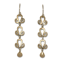 Cascading Tear Earrings in 14K Yellow Gold Design w Sterling Silver Base
