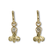 Solid Gold Spiral Bee Earrings with Diamond in 18K Yellow Gold