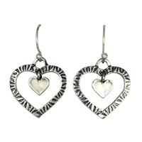 Taliesin Double Heart Earrings in Sterling Silver