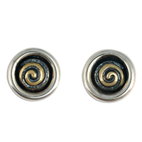 Spiral Eclipse Earrings in 14K Yellow Gold Design w Sterling Silver Base