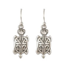 Turtle Earrings French Wire Medium in Sterling Silver