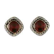 Athena Earrings with Gem in Garnet