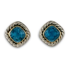 Athena Earrings with Gem in Swiss Blue Topaz