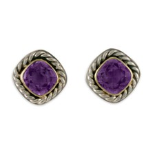 Athena Earrings with Gem in Amethyst