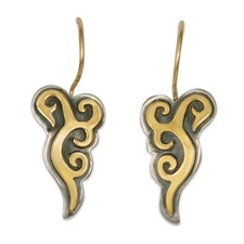 Wind Horse Earrings in 14K Yellow Gold Design w Sterling Silver Base