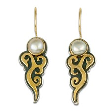 Wind Horse Earrings with Gem in 14K Yellow Gold Design w Sterling Silver Base