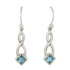 Twist Earrings in Swiss Blue Topaz