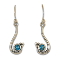 Celada Earrings with Gem in Swiss Blue Topaz