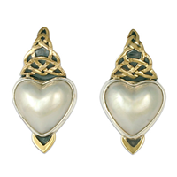 Kalisi Heart Post Earrings in 14K Yellow Gold Design w Sterling Silver Base