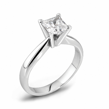 Princess Cut Canadian Diamond Solitaire Fairtrade Gold Engagement Ring in 18K White Gold