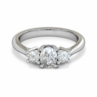 Trilogy Oval Diamond Fairtrade Gold Engagement Ring in 18K White Gold