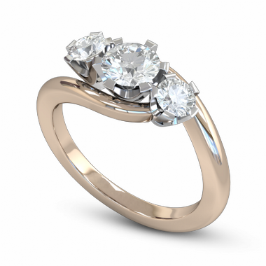 Brilliant Diamond Trinity Fairtrade Gold Engagement Ring in 18K Rose Gold