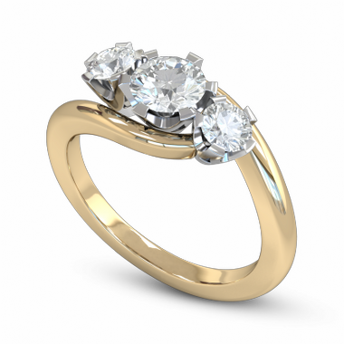 Brilliant Diamond Trinity Fairtrade Gold Engagement Ring in 18K Yellow Gold